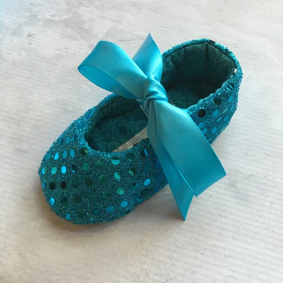 Baby girl shoes, baby bling, sequin shoes, turqoise shoes, under the sea- Joy Turquoise
