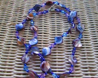 510  Blue shell Swarovski crystals handmade beaded necklace