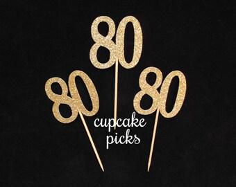 80th Birthday Cupcake Picks, 80th Cupcake Toppers, Gold Glitter 80 Cupcake Toppers, 80th Birthday Party Decorations