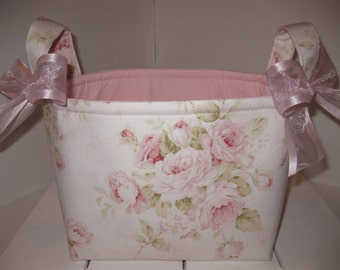 Pink Rose Ivory Shabby Chic Organizer bin / Fabric Basket / Small Diaper Caddy -Personalization Available