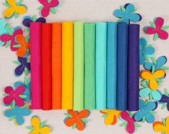 Wool Felt // Bright Side // DIY Garland, Merino Wool Felt Sheets, Rainbow Crafts, Bright Felt Assortment, Trolls Inspired Felt Collection