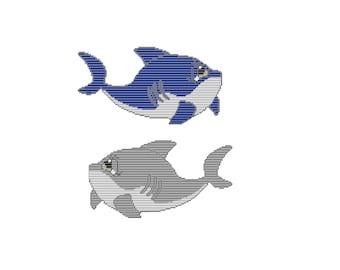 Plastic Canvas Sad Eyes Sea Creatures Sharks Set Six Wall Hanging Instant Download