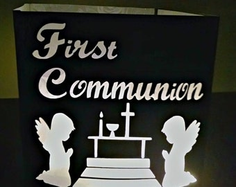 DIY First Communion luminary/ centerpiece