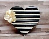 Black Metal Heart Wall Art - Heart Wall Hanging - Shabby Chic Heart
