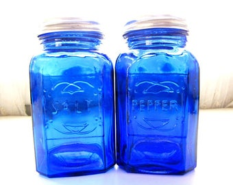 Vintage Cobalt Blue Glass Salt and Pepper Shakers from AllieEtCie