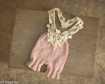 Girl Romper, Baby Pant, Baby Girl Overalls, Pink Lace Romper, Newborn Props, Baby Girl Props, Natural Props, Baby Knit Pants, Vintage, RTS