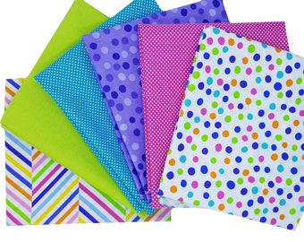 Bundle of 6 Polka Dot Prints in Pink, Turquoise, Lime and Purple from Me & My Sister and Moda Dottie