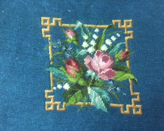 vintage needlepoint finished, floral center on a teal background, finished part is about 14 by 17 inches.