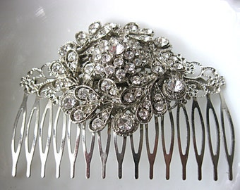 Large clear rhinestone brooch hair comb for bride, bridesmaid, mother of the bride, grooms mother, antique bronze comb