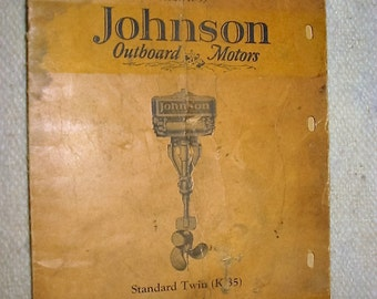 Vintage Outboard Motor Repair Parts Catalog Johnson Standard Twin Outboard Motor Model K-35 Catalog Salvage Old Outboard Motor Repairs Bklt