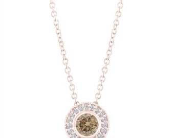ON SALE Fancy Champagne Brown Diamond Pendant Necklace 14K Rose Gold 0.45 Carat Halo Bezel And Micro Pave Set Handmade