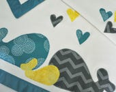 Reserved -- Organic Baby Blanket with Whales for Baby -- Teal, Silver Gray and Mustard Yellow
