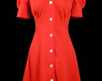 Mod Vintage LOLITA BABYDoLL MINI DRESS Red Knit Puffed Sleeves 60's 70s Waitress