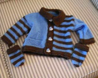 Hand knit boy's chestnut and cornflower blue sweater set