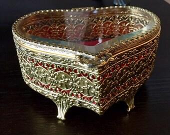 Vintage Ormolu Filigree Jewelry Box Heart Shaped with Ornate Cherubs