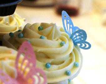 wafer paper edible butterfly, 60 Wafer Lacey Butterflies in Pink, Lavender, Blue, Lime-green, Yellow colors