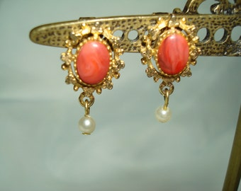 Vintage Dainty Coral Colored with Faux Pearl Clip On Earrings.