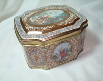 Vintage MEISTER Made in Brazil Romantic Cookie Biscuit Tea Tin.