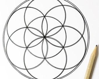 Sacred Geometry Mandala Coloring - Seed of Life - Hand Drawn - Digital Download 01
