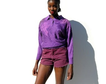 Purple henley sweater with leather leaf and patch motif 1990s 90s VINTAGE