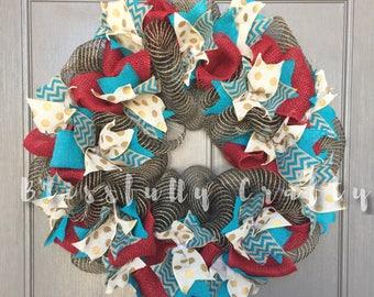 Wreath, deco mesh wreath, all seadon wreath, red wreath, blue wreath, teal wreath, gold polka dot wreath, black wreath, all season wreath