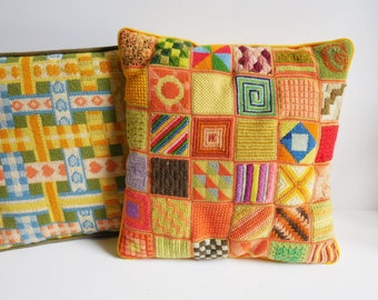 Two vintage pillows stitched patterns handmade needlepoint accent pillows shabby Colorful colors Yellow green orange