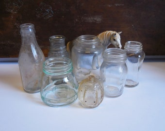 7 Vintage bottles jars glass Doctor Apothecary perfume variety collection
