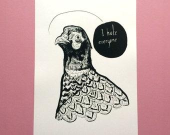 A4 'I Hate Everyone' Print