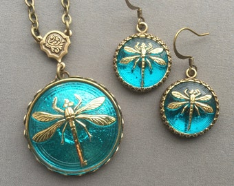 Dragonfly Necklace and Earrings - Dragonfly Pendant - Dragonfly Jewelry - Dragonfly Necklace - Jewelry Set - Dragonfly Earrings - Aqua Blue