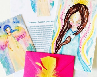 Messages from the Angels - watercolor angel, angel painting, angel art, whimsical art, mixed media art, guidance, reading