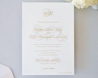 INVITATION SAMPLE The Plaza Suite - Gold Foil Wedding Invitation - Heirloom Wedding Invitations by Sincerely, Jackie