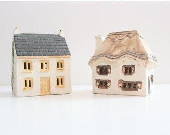 60% off sale // Vintage Set of Two O'Donoghue House Ceramic Money Box Banks // UK pottery, thatched home shape
