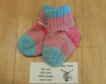 Tiny Pink/blue/white/dark pink hand knit baby socks