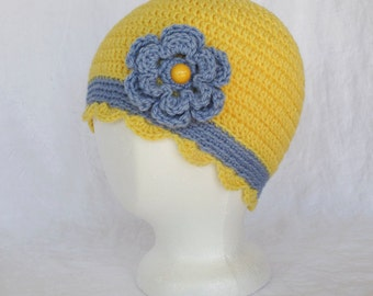 Ladies Yellow Blue Crocheted Cap