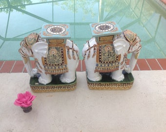 "ELEPHANT GARDEN STOOLS 18"" tall / Pair of Decorative Ceramic Elephant Garden Stools / Elephant Plant Stands Chinoiserie at Retro Daisy Girl"