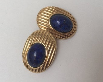 Lanvin French Couture Earrings Gold Tone Faux Lapis