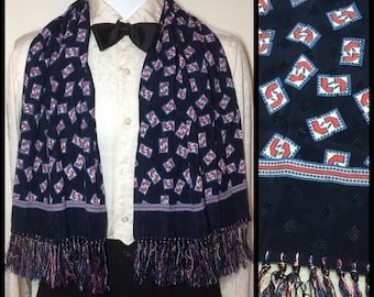 Vintage 1940's men's silky rayon ascot Opera scarf 44x12 dark blue red white abstract L7 patterned Damask fringe stripes