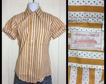 1970's Deadstock Striped tiny polka dot short sleeve Shirt looks size Medium NOS Anderson Little gold yellow white black