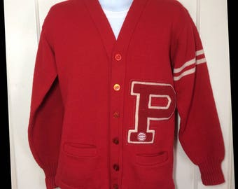 1960's Letter P patch Varsity Stadium Cardigan Wool Sweater looks size Medium letterman red white striped sleeve Standard Pennant Co.