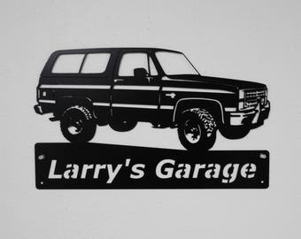 1981-91 Chevrolet K5 Blazer Personalized Man Cave Garage Sign Satin Black