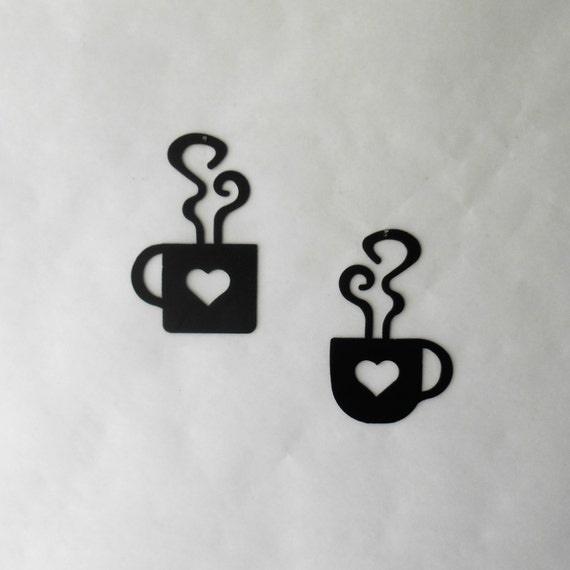 Heart Coffee Mug and Cup Wall Art Duo Metal Wall Decoration