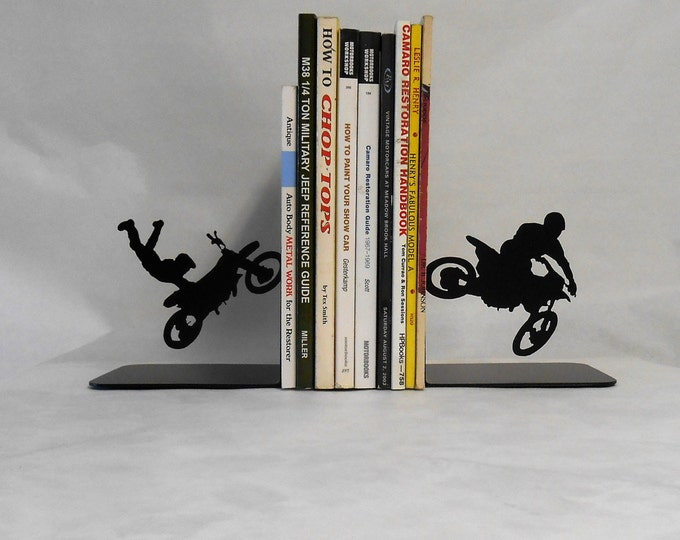 Motocross Motorcycle Racing Metal Art Bookends