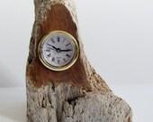 Driftwood cedar desk clock, very rustic beach find