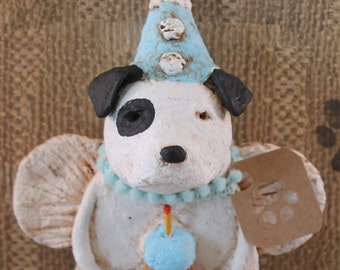 American Bulldog Birthday Angel, OOAK, hand-sculpted from papier mache, Bullie Birthday, American Bullie Figurine