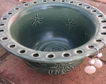 Ready to Ship: Ceramic Earring Holder and Jewelry Bowl with Dahlia Carving in Teal