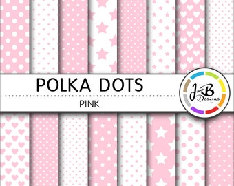 Polka Dots Digital Paper, Light Pink, Pink, White, Dots, Hearts, Stars, Digital Paper, Digital Download, Scrapbook Paper, Digital Paper Pack