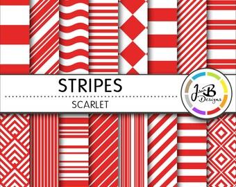 Stripes Digital Paper, Scarlet, Red, Red and White, Stripes, Nautical, Digital Paper, Digital Download, Scrapbook Paper, Digital Paper Pack