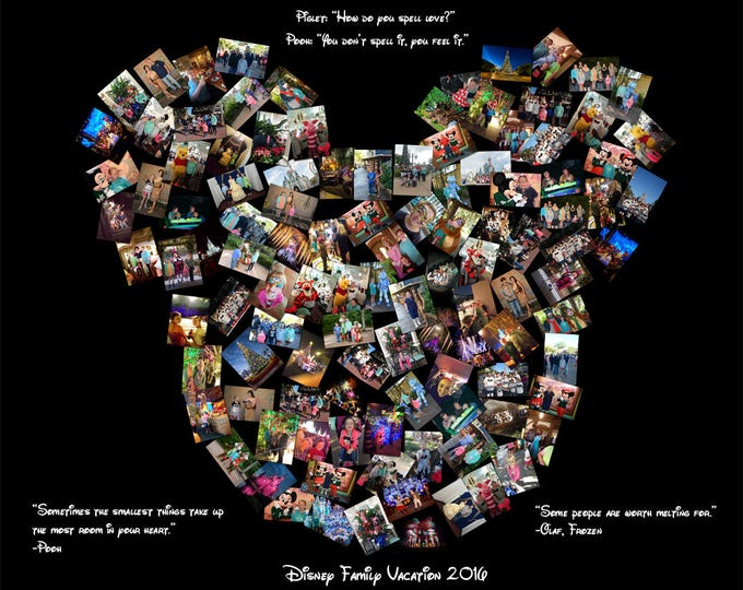Disney Collage Mickey Mouse Ears Custom Canvas Mosaic Collage Picture Gift Wedding or Anniversary Wall Art 16x20