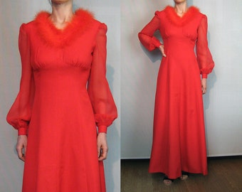 70s Red BOA Maribou Feather Maxi Dress