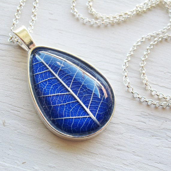 Real Pressed Leaf Necklace - Cobalt Blue Botanical Teardrop Necklace in Silver
